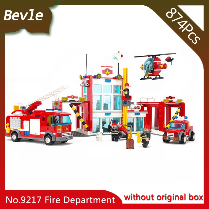 Bevle Store LEPIN 9217 874Pcs City Series Fire Department Model Building Blocks Kits Set Bricks Children For Toys Gudi Boys Gift 1711 city swat series military fighter policeman building bricks compatible lepin city toys for children