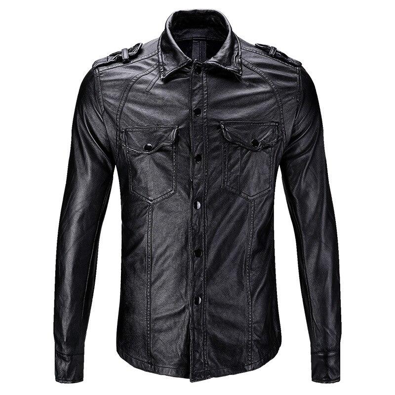 2018 Новая мужская мотоциклетная кожаная рубашка черная тонкая Молодежная повседневная мужская кожаная куртка из искусственной кожи мужски