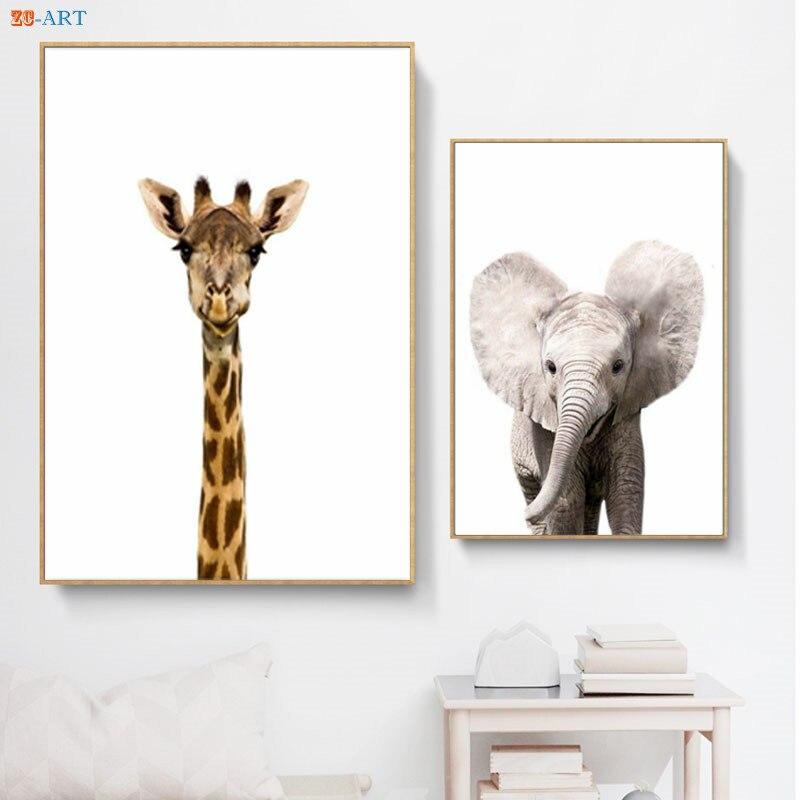 Safari Baby Animals Canvas Painting Wall Art Giraffe Elephant Zebra Lion Art Print Poster Kids Room Nursery Decor No Frame african elephant