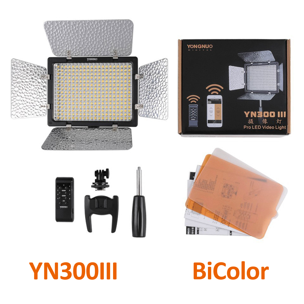 Yongnuo YN300 YN300II YN-300 III LED Video Light Single Color or 3200K-5500K BiColor Adjustable LED light Professional for DSLR цена 2017
