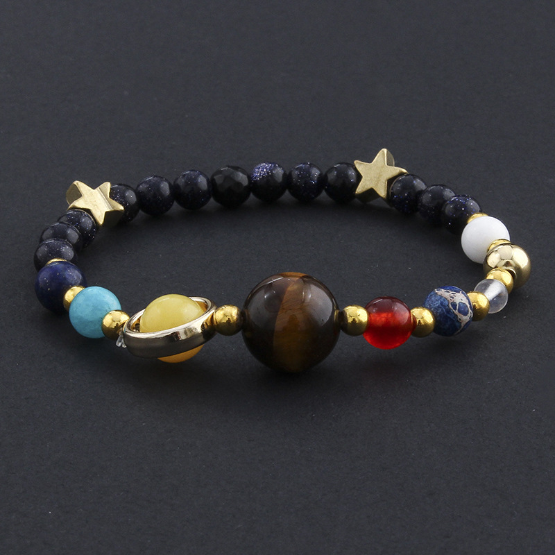 MKENDN Wholesale the Eight Planets in the Solar System Guardian Star Universe Galaxy Natural Stone Beads Bracelet for Couple
