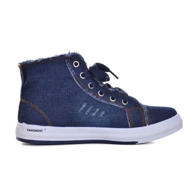 Tangnest New 2018 Autumn Women Canvas Shoes Casual Lace-up Women High Top Flats Vintage Washed Denim Canvas Shoes Woman XWF524