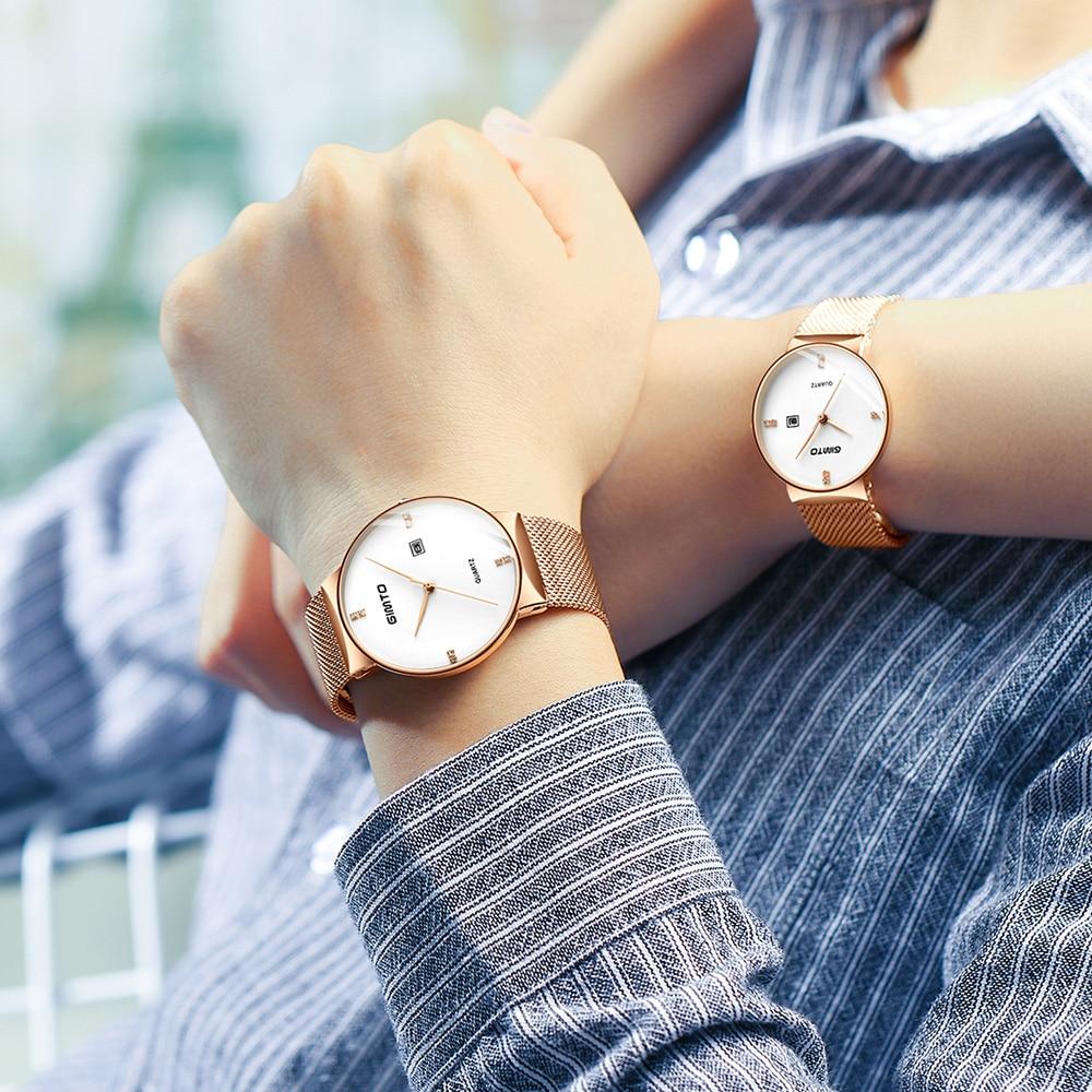 GIMTO Brand Luxury Men Women Watches Black Lovers Watch Stainless Steel Business Quartz Dress Wristwatch Relogio Montre Relojes