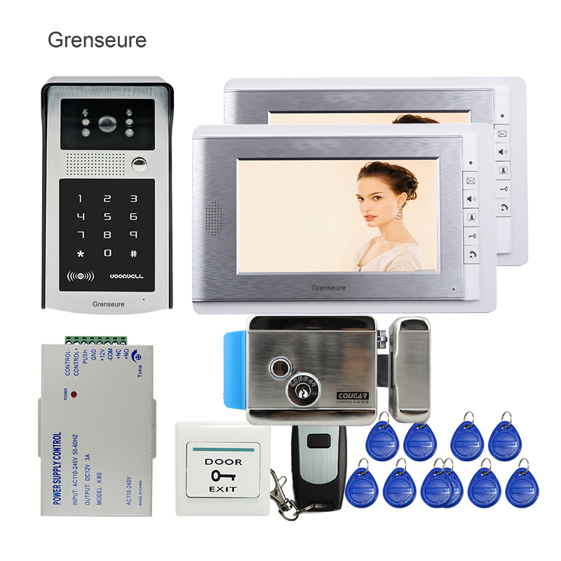 FREE SHIPPING 7 LCD Video Door Phone Intercom System 2 Screens RFID Access Code Keypad Password Camera + Electric Control Lock m190etn01 0 lcd display screens