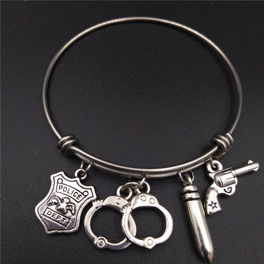 Stainless Steel Adjustable Kawat Bangle Gelang Antique Perak Disepuh Polisi Dept Gun Cuffs Charms Penegakan Hukum Jewlery