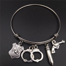 Stainless Steel Adjustable Wire Bangle Bracelets Antique Silver Plated Police Dept Gun Cuffs Charms Law Enforcement Jewlery