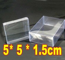 5x5x1.5cm -100pcs Wholesale Freeshipping PVC Transparent Birthday Gift Craft Dolls Display Packaging Boxes