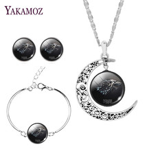 """Fashion Silver Color Jewelry Set Earrings&Bracelet&Necklace Charm Moon Necklace """"Game of Thrones"""" Pattern Fine Jewelry For Women"""