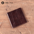 2017 new winter retro thin wallet men short paragraph retro handmade leather wallet cross section first layer of leather casual
