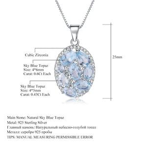 Image 2 - GEMS BALLET 3.90Ct Natural Sky Blue Topaz Gemstone Elegant Pendant Necklace for Women Fine Jewelry 925 Sterling Silver Collier