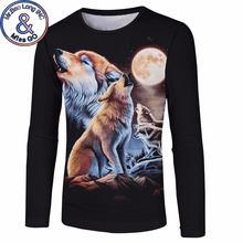 Luna Lobo Impresión de manga larga Camiseta hombres mujeres 2018 moda  divertida 3D camisetas Mens Hip c723b82b6929f