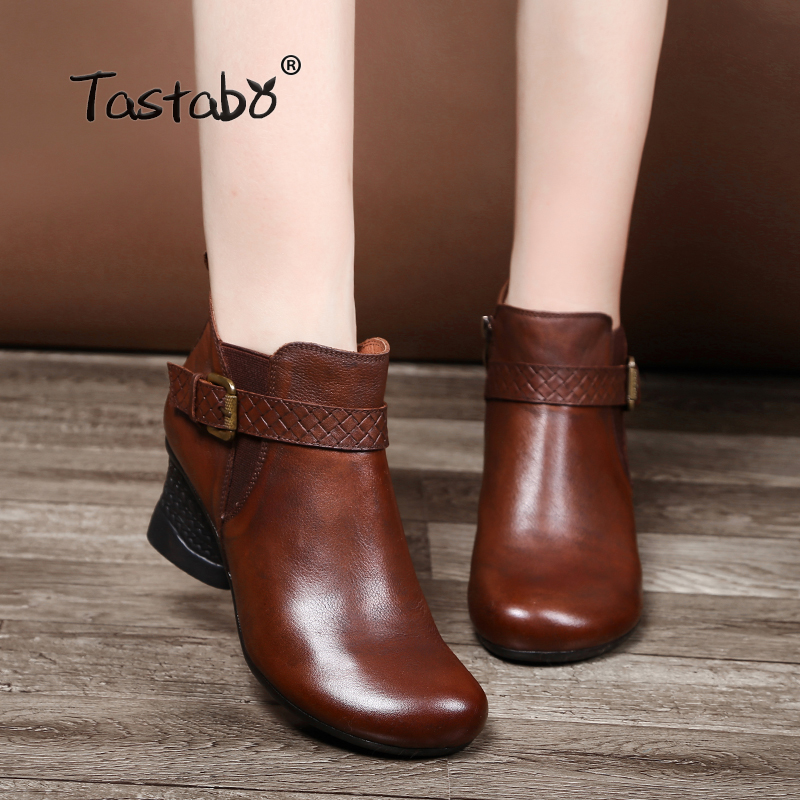 Tastabo Fashion Black Boots Women Spring Soft Genuine Leather Shoes Woman Party Ankle Boots Square High Heels Boots for Women цена 2017