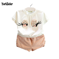 Fashion Lovely Cute Eyes Clothes Set White Color T Shirt Solid Shorts Kids Clothing For Baby