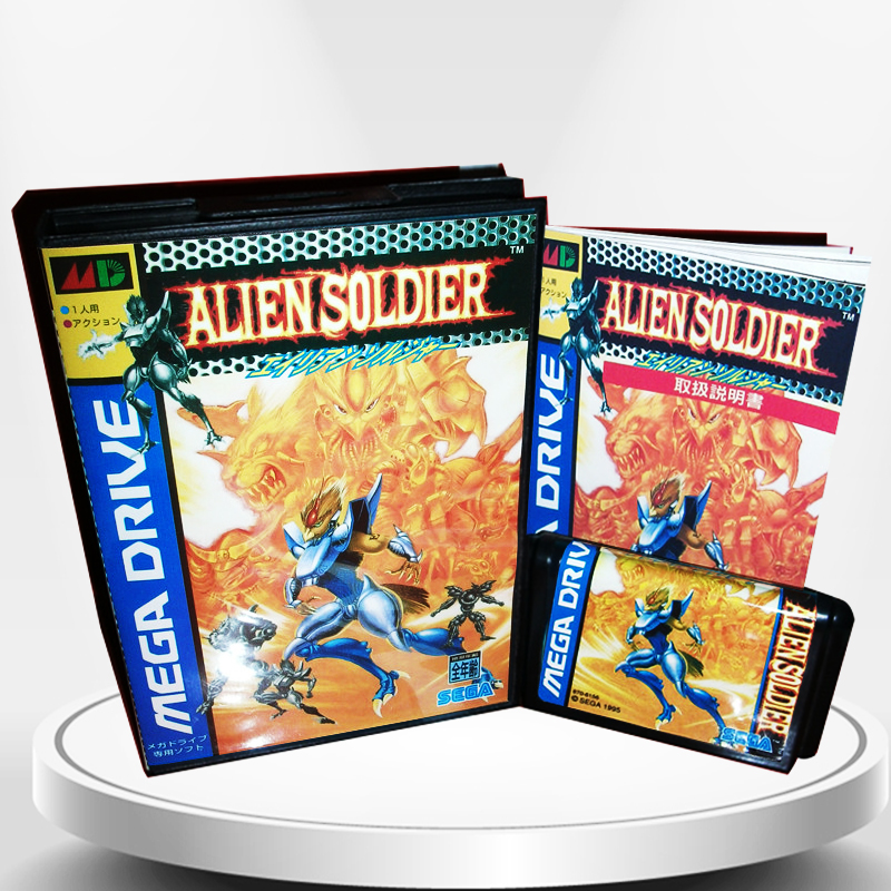 Alien Soldier Japan Cover with Box and Manual for MD MegaDrive Genesis Video Game Console 16 bit MD card