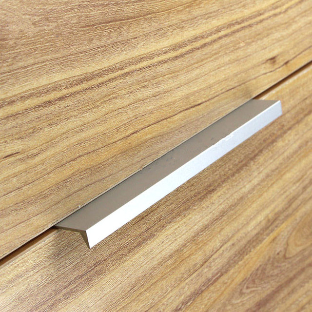 Buy 10pcs modern simple cabinet door edge handle wardrobe drawer aluminum color Fingertip design kitchen door handles