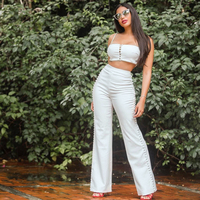 2019 New Summer Women Jumpsuit Two 2 Pieces Set Women Suit Sexy Spaghetti Strap Top Casual White Long Jumpsuits Dropshipping