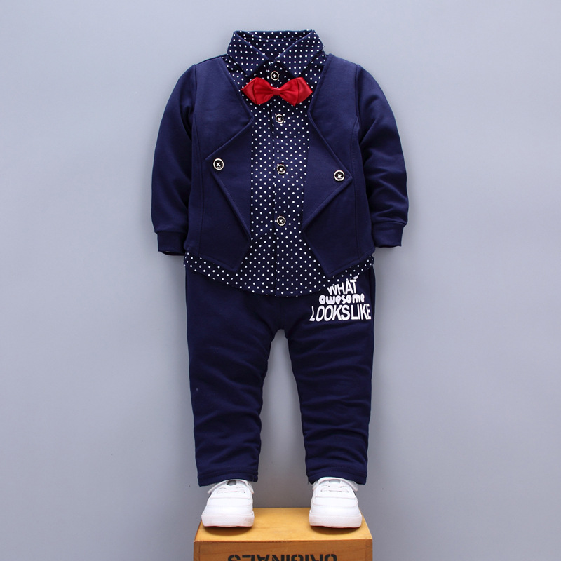 BibiCola Baby Tracksuit Kids Boys Clothing Set Spring Autumn Fake Two Tops+Pants 2pcs Set Toddler Gentleman Boys Clothes Suit купить в Москве 2019