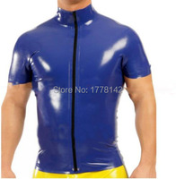 Latex Man Top Tee Rubber Fetish Short Sleeves T shirt with Front Zipper