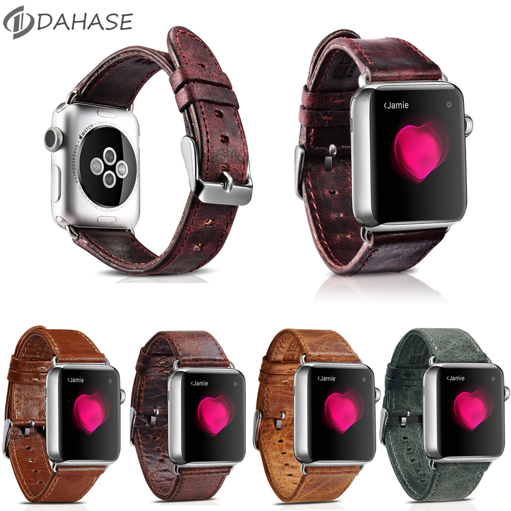 DAHASE Retro Genuine Leather Strap for iWatch 1st 2nd Watchband For Apple Watch Series 2 Leather Band w Stainless Steel Adapters kakapi crocodile skin genuine leather watchband with connector for apple watch 38mm series 2 series 1 pink