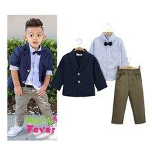 Autumn Baby Boys Clothing Set Long Sleeve Striped Shirt +Jacket Coat +Long Pants 3PCS Sets Gentlemen Suit Kids Clothes Boys 0