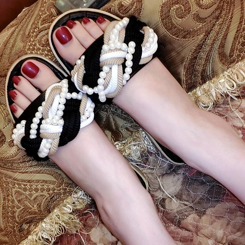 Marée De Femelle Vacances Été Mode Sandales Plage Plat Fond Nouveau Ficelle Pantoufles Porter 2019 1 Perle Chaussures RxnfZSw