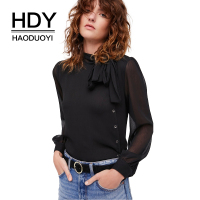 HDY Haoduoyi Solid Black Mesh Semi Sheer Sexy Women Shirts O Neck Full Sleeve Button Bowknot
