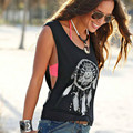 2016 New Summer Style Design Dreamcatcher Print Sleeveless Black Slim Fit Tank Tops Women Vest Fitness Femme Clothing Camisoles