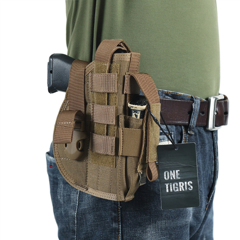 OneTigris Tactical Molle Gun Holster with Mag Pouch for Pistol Military Airsoft Hunting fit Glock 17 18 19 23 Beretta M92 M96 M9 emerson safariland tactical dropleg holster for beretta m92 airsoft with flashlight holster bd2293