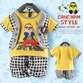 2014 новое лето 0-3 лет Audel ткань ложным жилет с короткими рукавами костюм младенца Детские боди Детские Подарочный Набор детская одежда