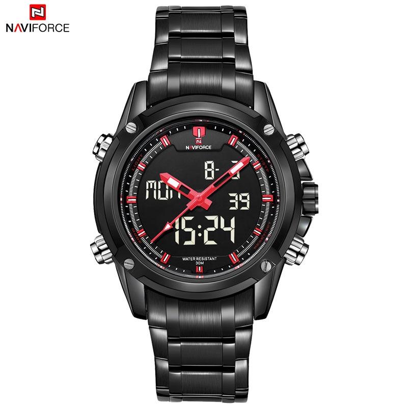 NAVIFORCE Brand Mens Sport Watch Men 30M Waterproof Quartz Watches Stainless Steel Band Analog LED Digital Display Wristwatches все цены