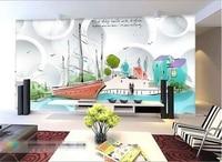 3D Kids Room Wallpaper Custom HD Photo Mural Non Woven Wall Sticker Cartoon Beach Scenery HD