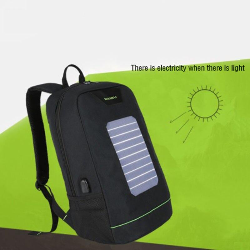 BAIBU hommes sac à dos 10W solaire alimenté sac à dos Usb charge Anti vol sac à dos pour ordinateur portable pour femmes sacoche pour ordinateur portable sacs imperméables - 3