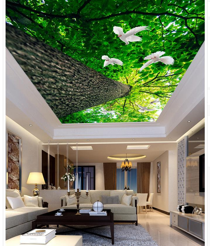 Home Decoration Dove tree living room bedroom ceiling Custom 3d photo wall paper ceiling Mural 3d wallpaper custom 3d photo wallpaper blue sky white clouds ceiling wall murals for living room bedroom home decoration ceiling wall paper