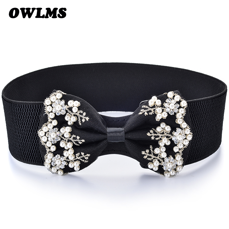 Newest Free Shipping New Fashion Popular Pearl Bow Cummerbund Lace Decoration Trench Wide Elastic Waist Belt Cummerbunds Women