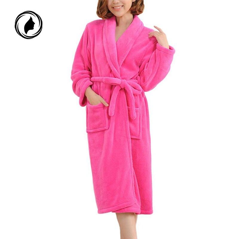 Long Bathrobes Women Robe Autumn Winter Warm Long Sleeve Flannel Robe  Female Sleepwear Lounges Homewear Pyjamas Women Nightdress 58681c7e14