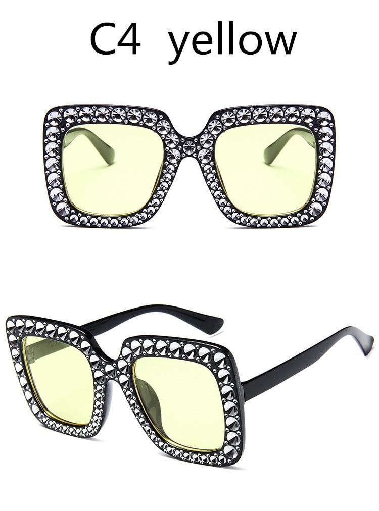 ASUOP2018 International Brand Sunglasses Ladies Crystal Multicolor Mirror Retro All Star Glasses Women Black Gray Hue Sunglasses (12)