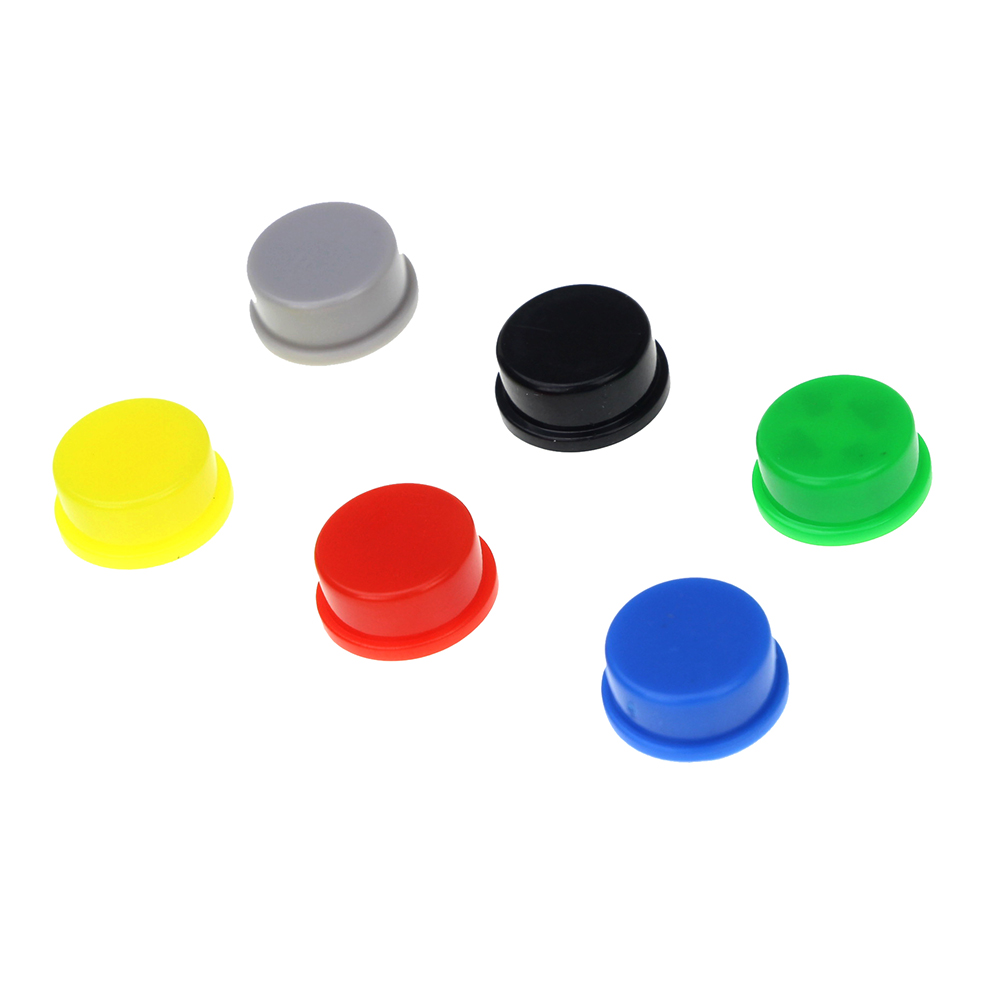 10Pcs Switch Tact Cap Applied Tactile Push Button Switch Momentary 12*12*7.3MM (Black Red Yellow Blue White Gray) 6pcs 22mm momentary push button switch red green blue yellow black white normal open normal close