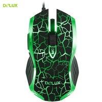 Delux M557 Gaming Wired Mouse 1600 DPI Optical Engine LED Backlit Mouse Cool Light Crack Gamer