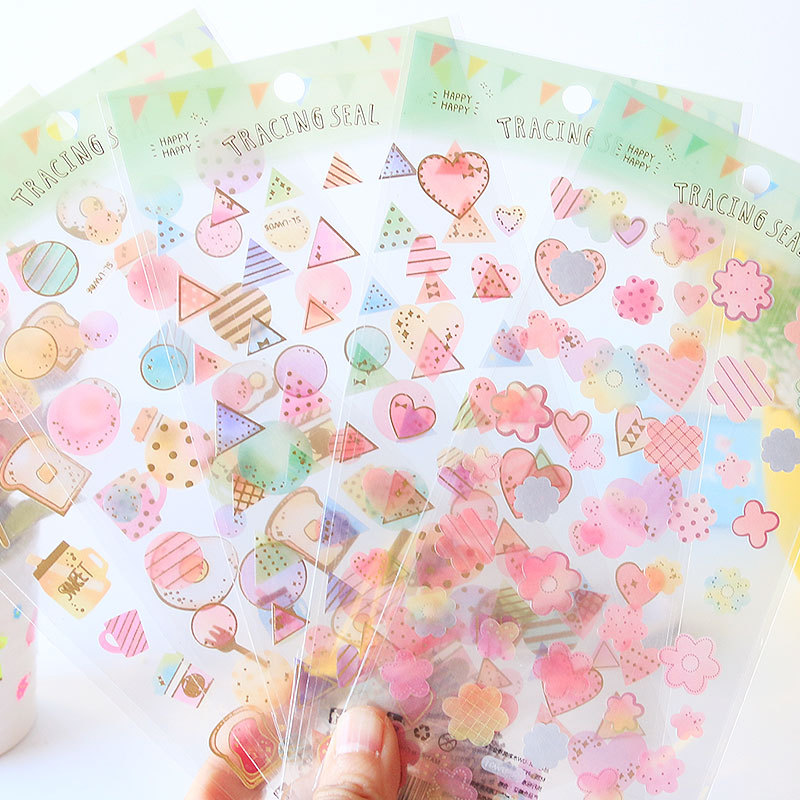 DIY Colorful Watercolor Bronzing Kawaii Stickers Diary Planner Journal Note Diary Paper Scrapbooking Albums PhotoTag