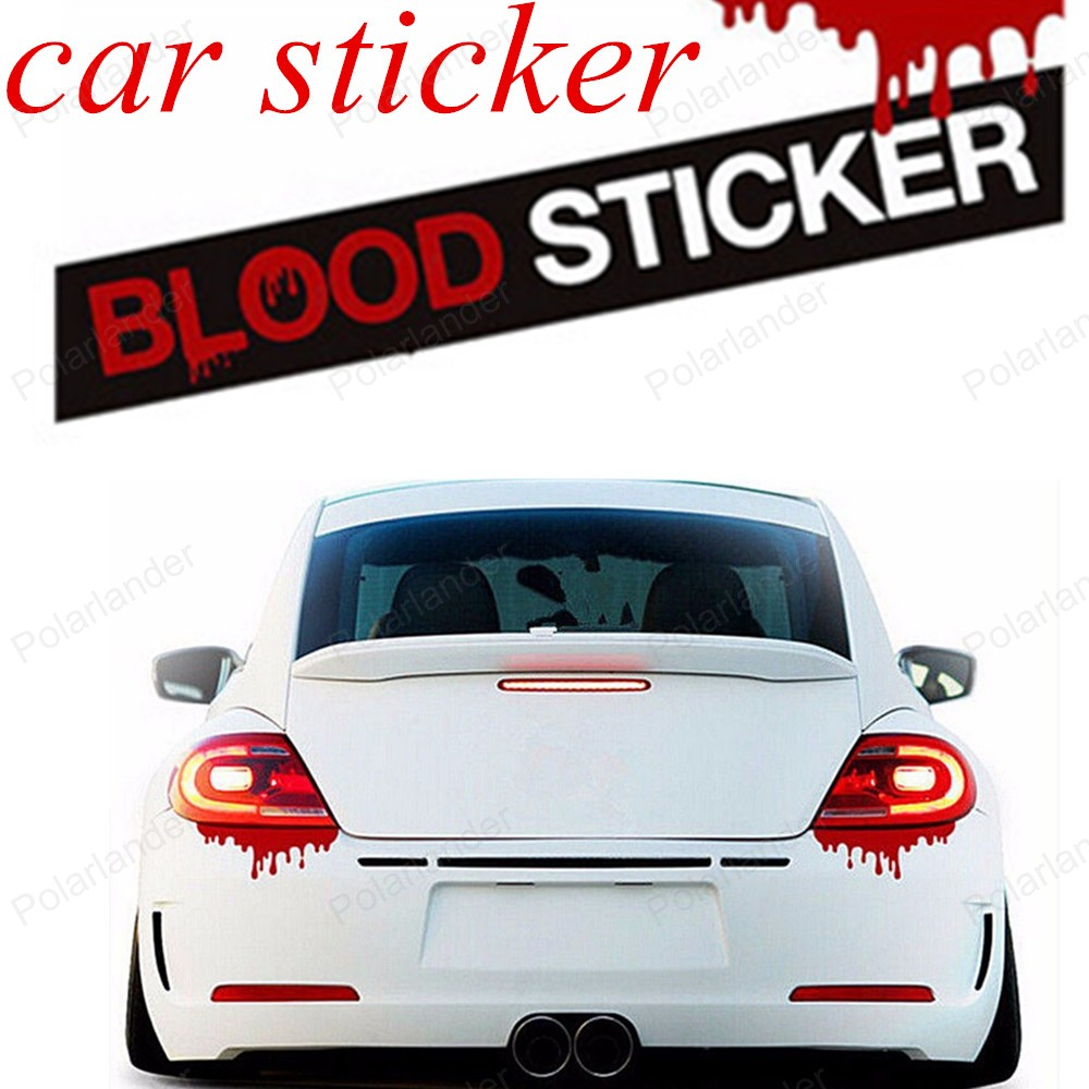 Car door sticker design - Big Sale Door Window Car Body New Design Blood Bleeding Car Stickers Reflective Car Decals Rear