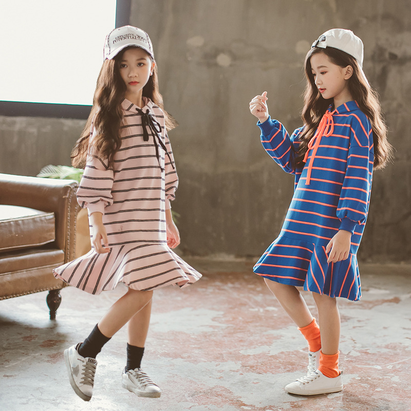 Autumn Girl Dress Hooded Long Sleeve Kids Clothes New Casual Children Clothing Striped Teens Dresses Teenagers Clothes CA144 petite striped long sleeve slit casual maxi dress