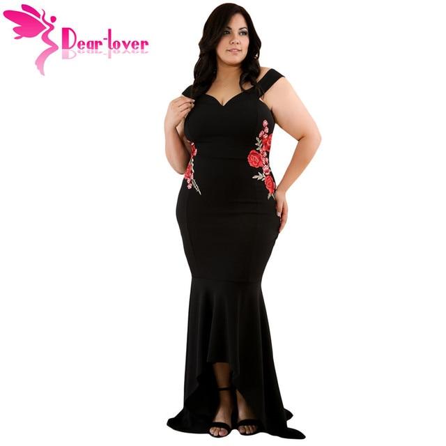eede4a3671c5 Caro Amante Longo Partido Vestidos Plus Size Verão Bordado Floral Sereia  Maxi Até O Chão Vestido