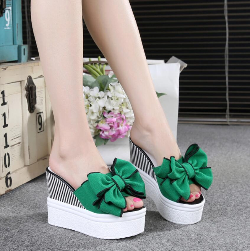 2019 bowknot Women Sandals Summer Platform Sandals High Heels Sandal Wedge Shoes Women Ladies High 11cm plataforma Beach shoes basic pump