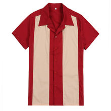 Vertical Striped Shirt Men Designer Shirts Red Short Sleeve Camiseta Retro Hombre Bowling Button-Down Dress Men's Shirts Cotton(China)