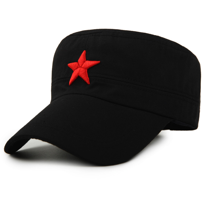 Military Cap Red Star Embroidery Cap Military Hat Army Green Flat Hats For Men Women Vintage Bone Male Female Army Sun Hat