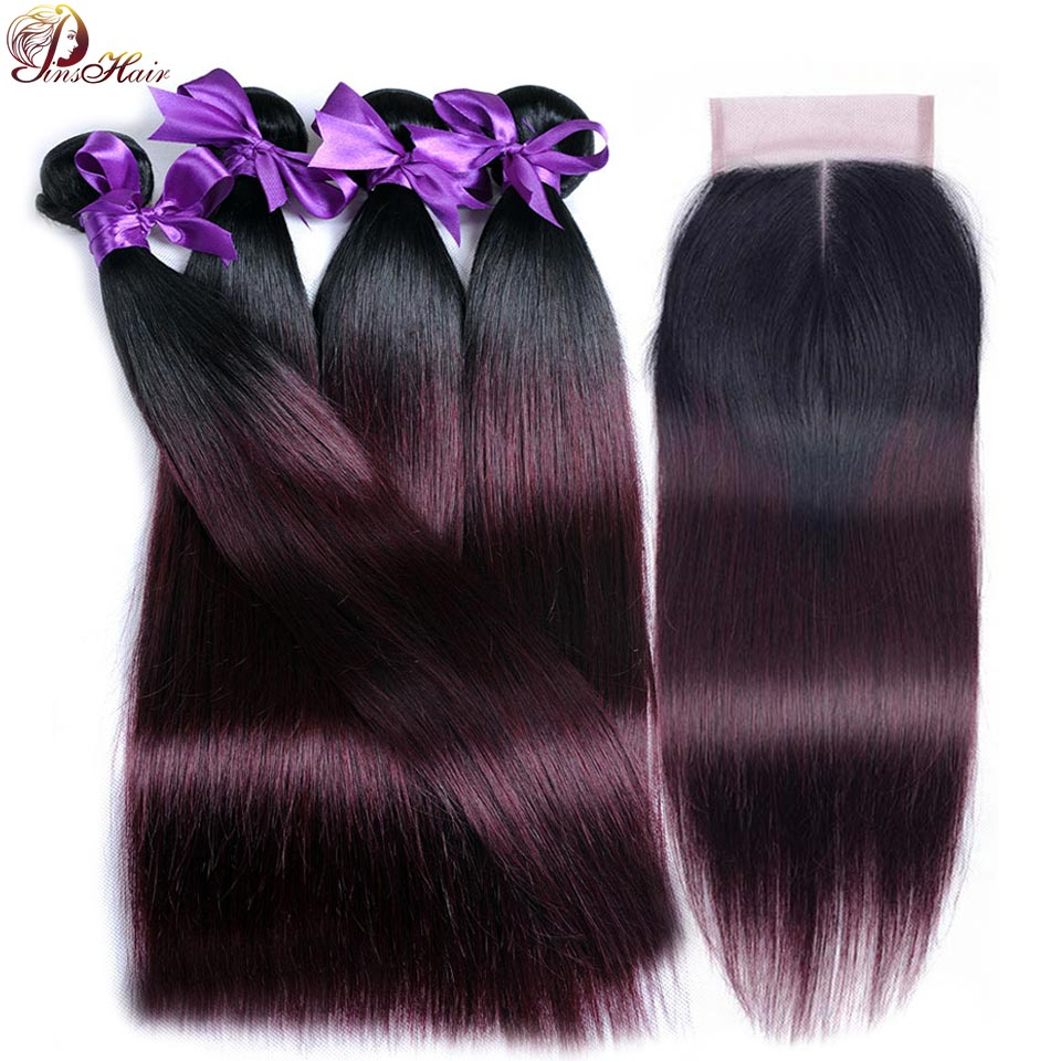 1B Red Burgundy Ombre Bundles With Closure Thick Peruvian Straight Human Hair 4 Bundles With Closure