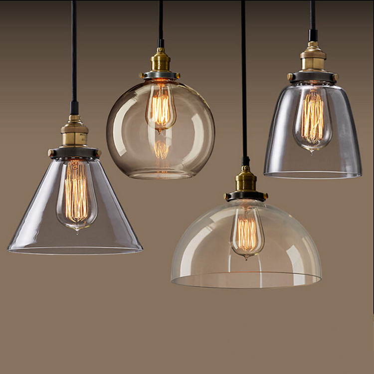Vintage Pendant Light Loft Glass Hanging Lamp For Kitchen Dining Room Home Lighting luminaria retro industrial Pendant Lamp edison inustrial loft vintage amber glass basin pendant lights lamp for cafe bar hall bedroom club dining room droplight decor