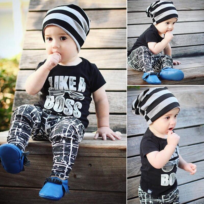 Симпатичные для маленьких мальчиков дети буквы футболка с коротким рукавом + длинные штаны Летние Обувь для мальчиков хлопковый комплект о...