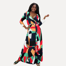 2019  Large Size women's Fat mmV Collar Printing Tie Waist Long Dress цена 2017