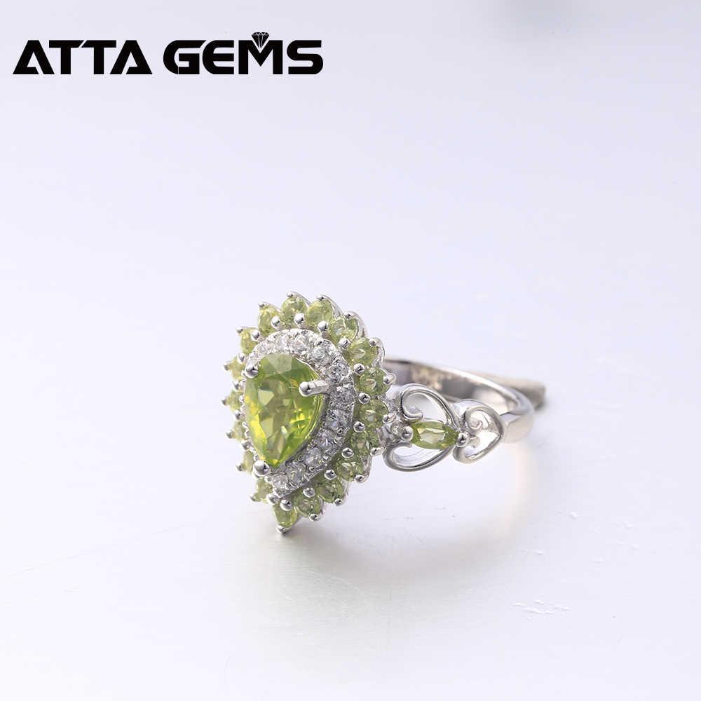 Naturalne Peridot srebro pierścionki dla kobiet 3 karaty naturalne Peridot sierpień Birthstone obliczu cięcia romantyczny styl kobiety prezent